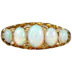 Antique Edwardian Five-Stone Opal 18 Karat Gold Ring