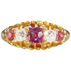 Antique Late Victorian Five-Stone Ruby and Diamond 18 Karat Gold Ring