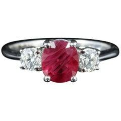 Antique Edwardian Ruby Diamond Trilogy Ring 18 Carat White Gold, circa 1915