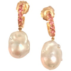 Pink Topaz Hoop with Dangling Baroque Pearl