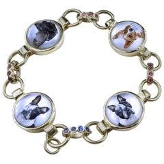 18 Karat Gold Hand Painted Dog Bracelet on Crystal