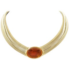 Vintage Cartier Amber Cabochon Collar Necklace 18 Karat Yellow Gold