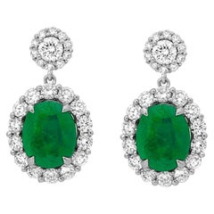 2.19 Carat Total Weight Emerald and Diamond Earrings Set in 18 Karat White Gold