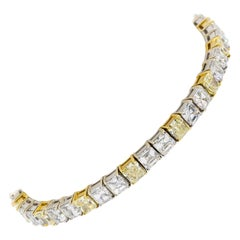 Chopard 16 Carat Yellow Radiant and White Asscher Diamond Line Bracelet