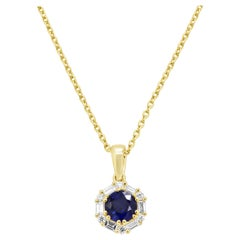 Blue Sapphire Round White Diamond Halo Yellow Gold Pendant Necklace