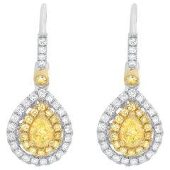 Fancy Yellow and White Diamond Lever Back Earrings Set in 18 Karat Gold