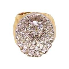Shell Motif Diamond Ring in 14 Karat Yellow and White Gold