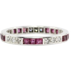 Platinum Art Deco 1 Carat Ruby and Diamond Eternity Band, circa 1920s