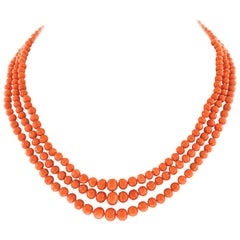 Antique Coral Three Strand Necklace