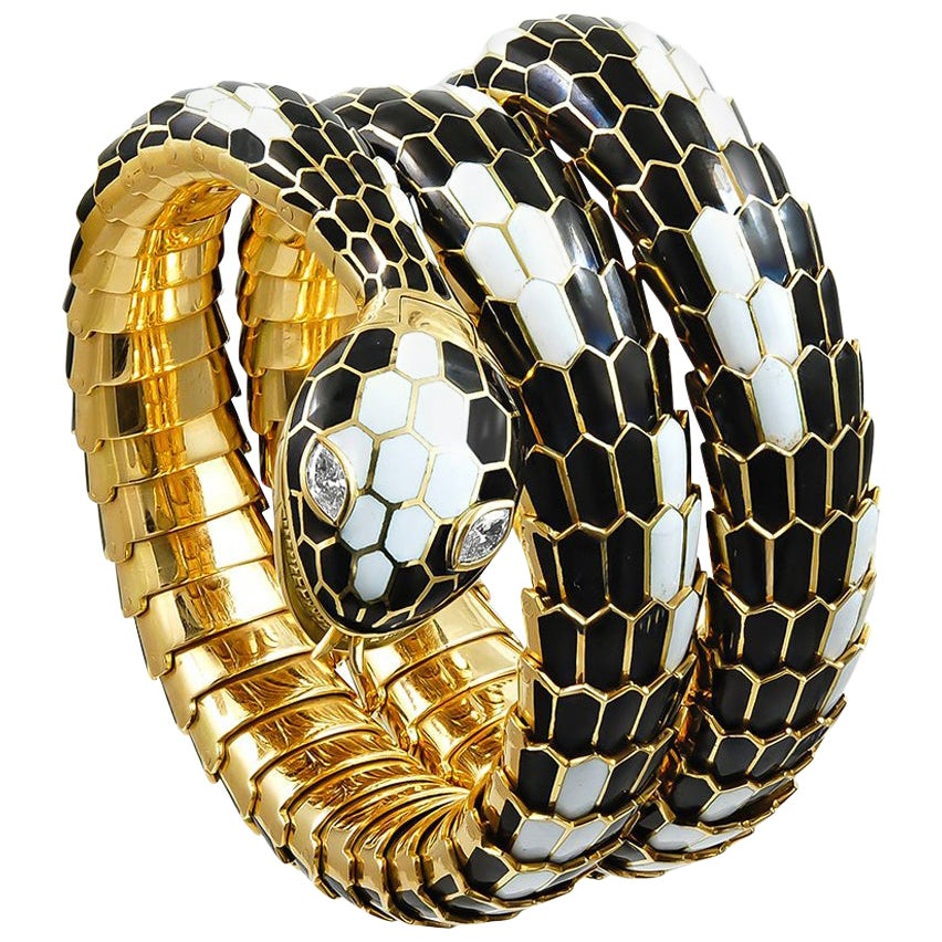 Bulgari Serpenti Diamond Enamel Serpenti-Bracelet Watch
