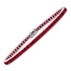 Vintage Midcentury C.D. Peacock Square Cut Burmese Ruby Platinum Line Bracelet