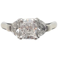 GIA Certified Radiant Cut Diamond 1.22 Carat with Half Moon Side Diamonds