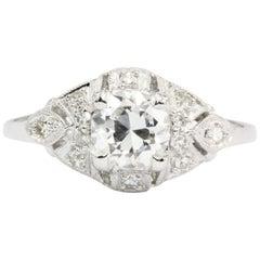 Platinum Art Deco Old European Cut Diamond Engagement Ring, circa 1920s