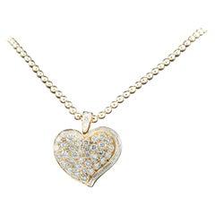Bulgari Bvlgari Vintage 18 Karat Gold Diamond Heart Pendant with Ball Chain