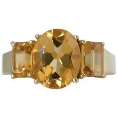 1980s 4.9 Carat Total Citrine and 14 Karat Yellow Gold Three-Stone Ring