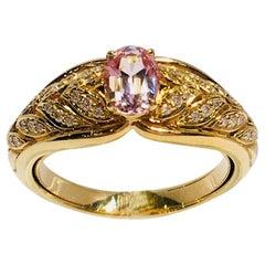 Kat Florence Pink Mogok Spinel D Flawless Diamonds 18 Karat Gold Designer Ring