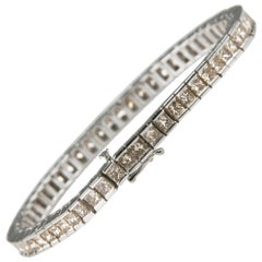 12.00 Carat Light Cognac Diamond 14 Karat White Gold Tennis Bracelet