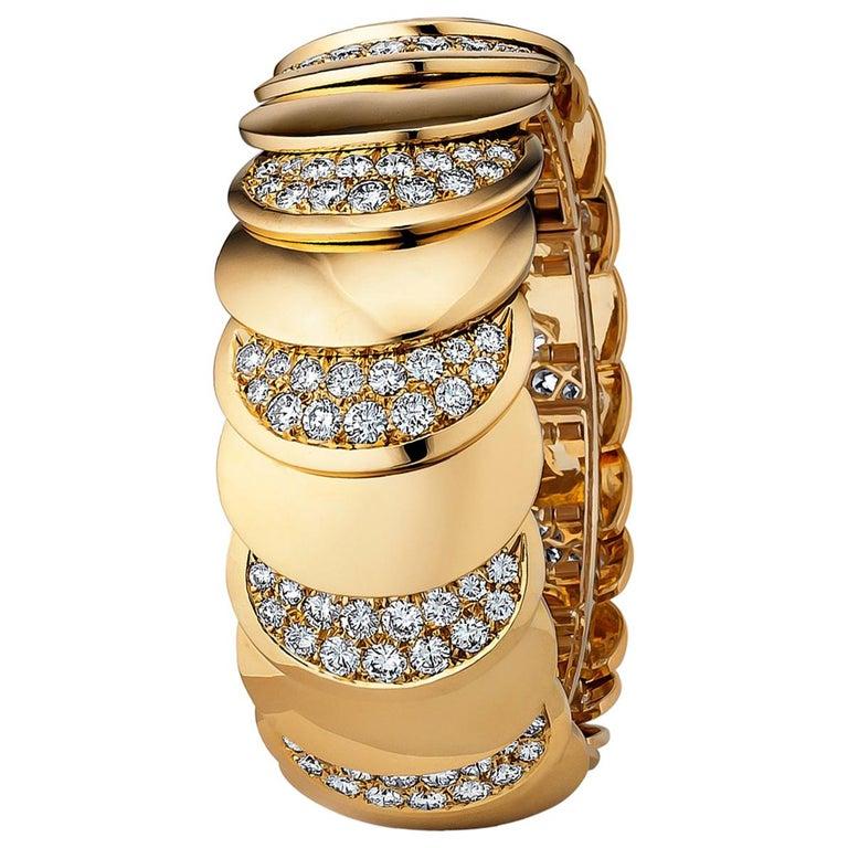 Rene Boivin Paris Vintage Diamond Gold Bracelet For Sale