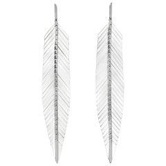 Cadar Feather Drop Earrings, 18 Karat White Gold, Large