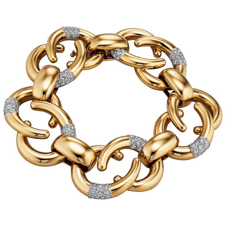 Cartier Paris Vintage Diamond Gold Link Bracelet