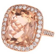 16.22 Carat Morganite Diamond 14 Karat Rose Gold Cocktail Ring