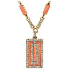 Van Cleef & Arpels Paris Vintage Diamond Coral Gold Pendant Necklace
