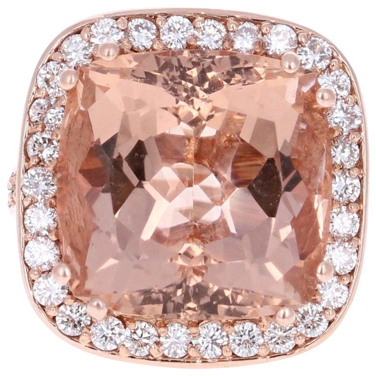 20.23 Carat Morganite Diamond 14 Karat Rose Gold Cocktail Ring