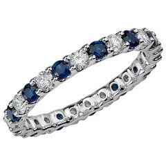 Round Blue Sapphire and Diamond Eternity Band 14 Karat White Gold