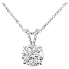2.04 Carat Round Diamond Solitaire Pendant Necklace