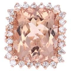 16.07 Carat Morganite Diamond 14 Karat Rose Gold Cocktail Ring