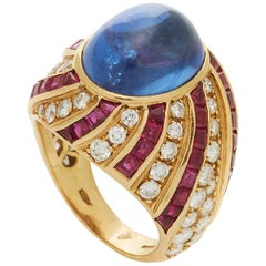 Illario Cabochon Sapphire Diamond Ruby Ring