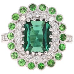 4.06 Carat Tourmaline Diamond 14 Karat White Gold Ring