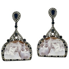 Carved Shell Cameo Earring with Diamonds and Sapphire