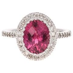 3.99 Carat Pink Tourmaline Diamond 14 Karat White Gold Ring