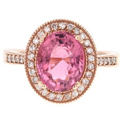 3.93 Carat Pink Tourmaline Diamond 14 Karat Rose Gold Ring
