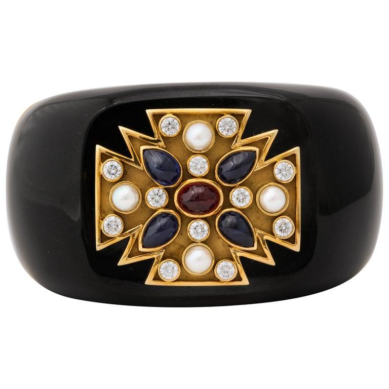 Verdura Black Jade Ruby Sapphire Pearl Diamond Maltese Cross Cuff Bracelet For Sale