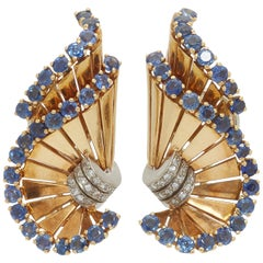 Retro Gubelin Sapphire Diamond Ear-Clips