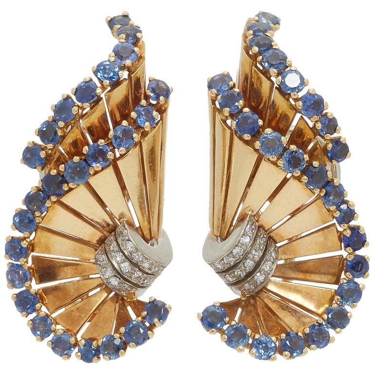 Retro Gubelin Sapphire Diamond Ear-Clips For Sale