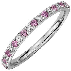 Round Pink Sapphire and Diamond Eternity Band 14 Karat White Gold
