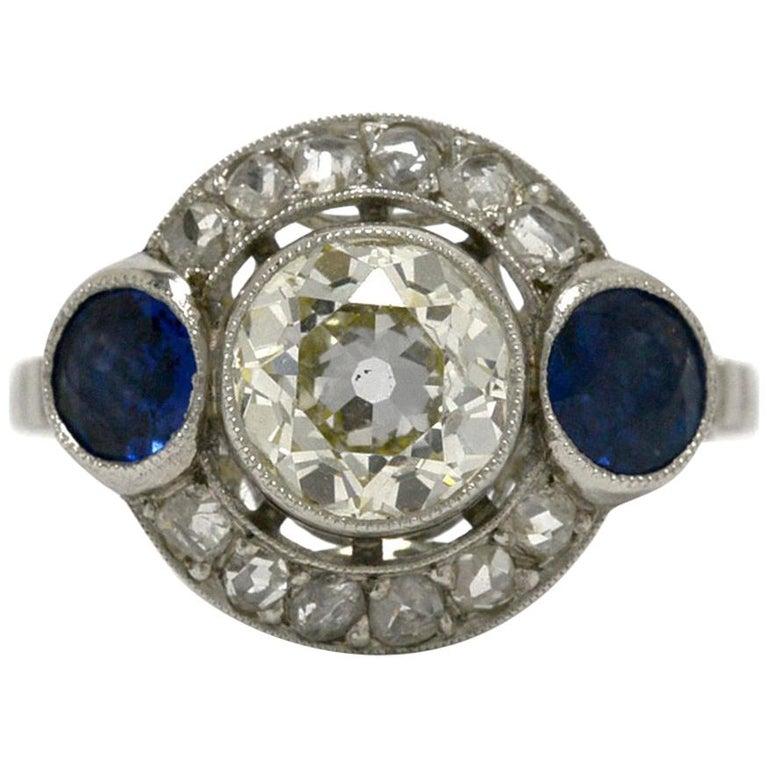 Art Deco Diamond 2 Blue Sapphire Platinum 3-Stone Engagement Ring Appraisal