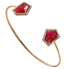 Rose Cut Sliced 5.56 Ct Ruby 0.36 Ct Diamonds 14k Rose Gold Bangle Bracelet