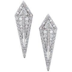 18 Karat White Gold and 1.66 Carat Colorless Diamond Arrow Studs Earrings