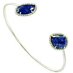 Sliced 5.78 Ct Natural Blue Sapphire 0.35 Ct Diamonds 14k White Gold Bracelet