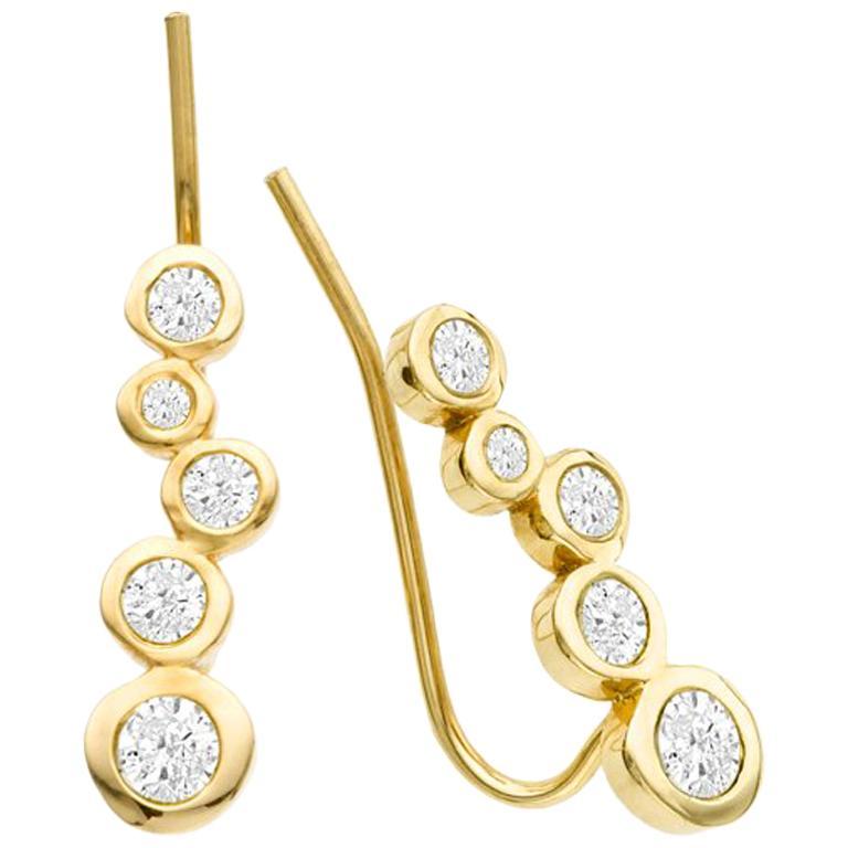 White Diamond 0.46 Carat 14 Karat Yellow Gold Earring Climber For Sale