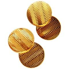 14 Karat 3D Circular Double Textured Gold Cufflinks Tread Lines