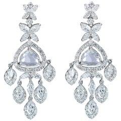 Studio Rêves 18K White Gold, Rose cut and Marquise Cut Diamond Dangling Earrings
