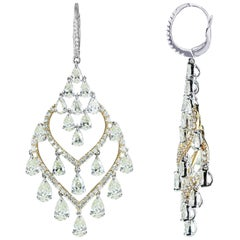 Studio Rêves 18 Karat Gold, Pear Diamonds Drop Chandelier Earrings