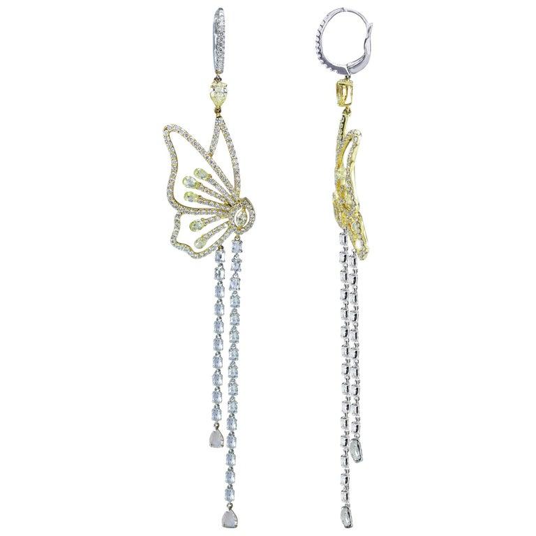 Studio Rêves 18 Karat Gold, Butterfly Dangling Earrings