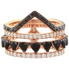 18K Rose Gold & 0.575 cts Colorless 1.32 cts Black Diamond Spear Ring by Alessa