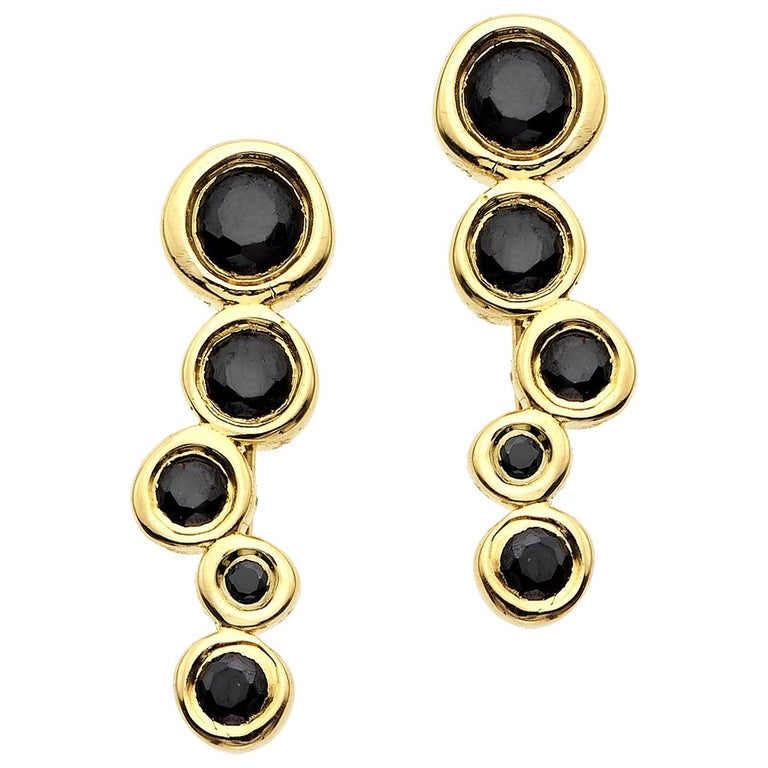 Black Diamond 0.44 Carat 14 Karat Yellow Gold Climber Earrings